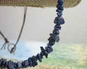 Boho Necklace with Lapis Lazuli Chip Beads on Brown Linen from the Vayu Collection