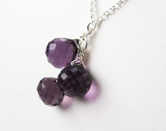 Amethyst Gemstone Necklace, Sterling Silver Chain, Purple Teardrop Pendant Necklace, February Birthstone, Handmade, Rossi