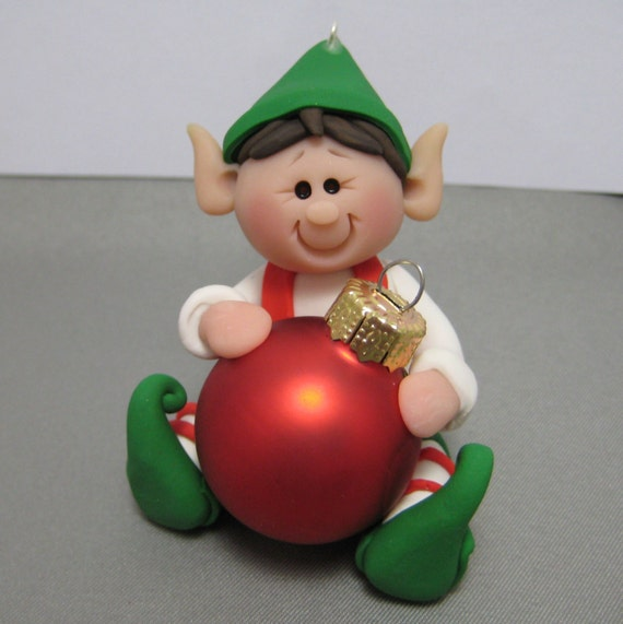 Polymer Clay Christmas Ornament: Elf Polymer Clay Christmas Ornament Decoration