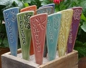6 Vegetable Garden Stakes - Plant Markers - A Set of 6 vegetable ceramic garden markers - READY TO SHIP