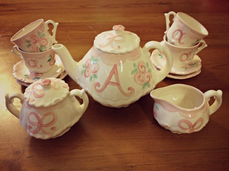 rosebuds and bows little girls tea party china tea set. Black Bedroom Furniture Sets. Home Design Ideas