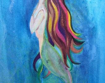 9 x 12 Original Watercolor Mermaid