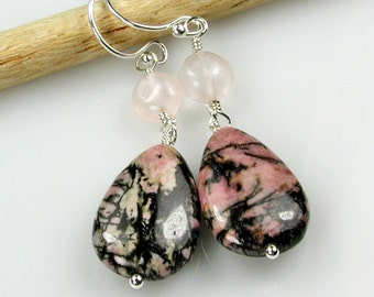 Pink Rhodonite and Rose Quartz Silver Dangle Earrings