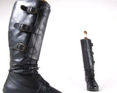 vintage 80s black side buckle black genuine leather knee high fleece insulated tall boots sz eur 39 usa 9