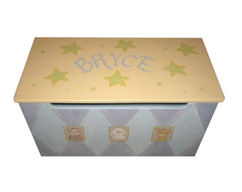 Childrens wooden toy box - Custom painted to match your bedding