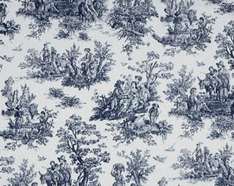 James town blue and white toile valance 52 X 14