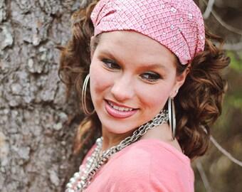Fabric Headband, Fabric Head Band, Pink Headband, Pink Hair Band, Wide Headband, Wide Head Band, Large Headband, Big Headband, Expandable