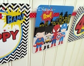 Superhero Happy Birthday Banner / Batman, Superman, Captain America and Spiderman / Personalized with Name and Age