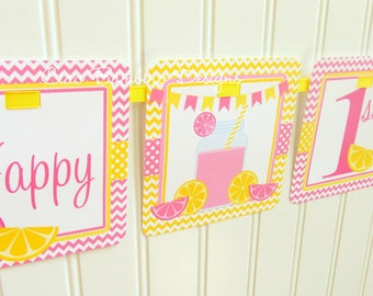 Pink Lemonade Happy Birthday Banner / Pink and Yellow Pink Lemonade Party / Personalized with Name and Age