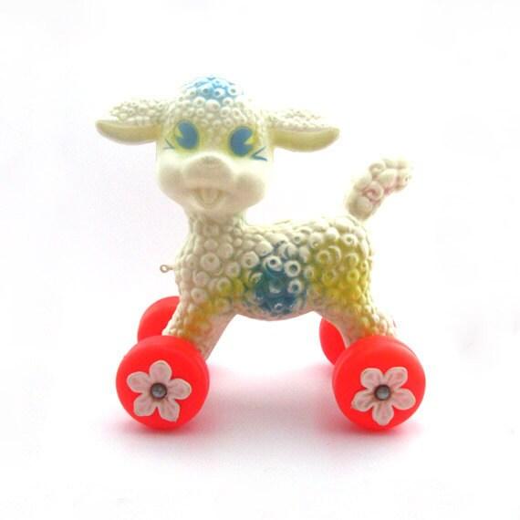 """Large Vintage Pull Toy - Plastic Lamb on Wheels 10"""""""