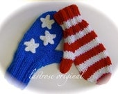 Child's Mittens, Hand Knit, Red, White and Blue Stars and Stripes, X-Small (1-2 years)