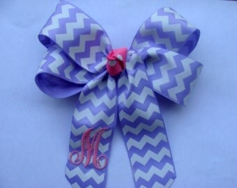 Chevron Hair Bow Monogrammed Custom Boutique Initial Gift purple lavender personalized letter formal pink school kindergarten party pre-k