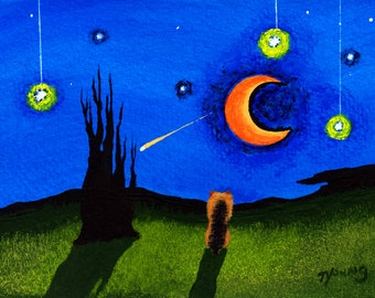 Yorkie Dog Folk Art PRINT from a Todd Young painting STARRY SKY
