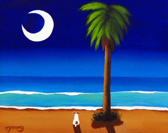Jack Russell Terrier Dog Palm Tree LARGE Folk Art print by Todd Young MOONLIGHT