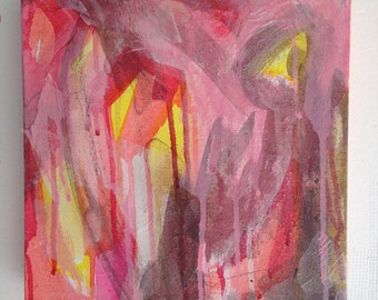 """abstract painting in pretty pinks, reds, yellow and white, original art on canvas, in a dream, modern art, 10""""x10"""" size"""