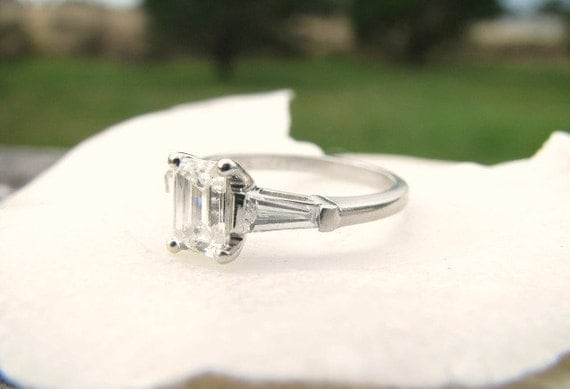 reserved vintage emerald cut engagement ring superb