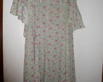 vintage handmade cotton floral dress,with sewn on cape/collar/sleeves