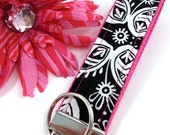 Wristlet Keychain Key Fob KEYLETTE...Funky Black White Paisley Fuchsia