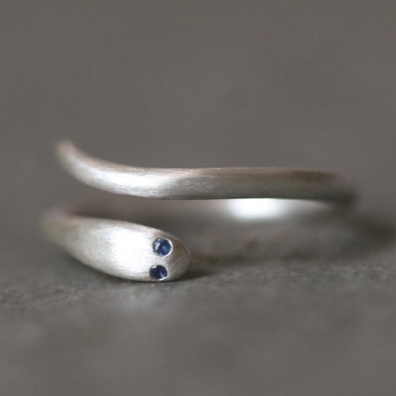 Baby Snake Ring in Sterling Silver with  Gemstones