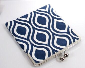 Navy Blue iPad Case with  Kisslock Frame - Navy and Ivory - iPad Clutch - iPad Cover - Tablet Clutch - iPad Mini