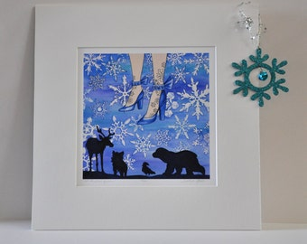 """SNOW QUEEN """"let it snow queen"""" signed numbered limited edition fairy tale illustration art print from the faerie tale feet series frozen art"""