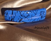 Abstract on Blue Fused Glass Barrette  133055