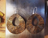 stamped and hammered large brass earrings
