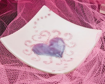 Pink, purple and white iridescent heart plate abstract  6.5 x 6.5
