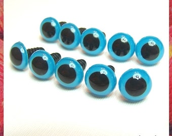 20 mm BLUE plastic safety eyes - 5 pairs