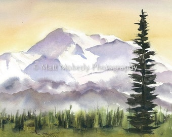Print of Denali, Mt Mckinley, Alaska, from an original watercolor