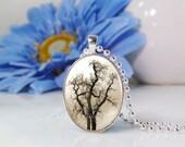 Oval Medium Glass Bubble Pendant Necklace- Winter Bare Tree 1