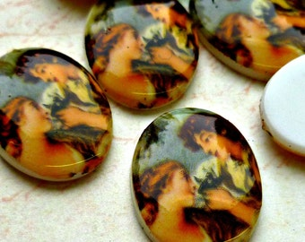 Six Vintage Plastic Cabochons - 6 German 18x13mm Lovers Acrylic Cabs (4-13F-6)