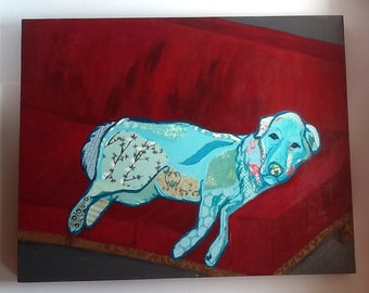 Robins Egg Blue Dog Retriever Paper Collage Red Couch Child