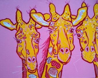 Three Happy Giraffes Original Painting Collage