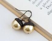 Fall Jewelry, Acorn Earrings, Gold Pearl, Dark Antiqued Brass Dangle Earrings, Woodland Jewelry, Rustic, Autumn, Acorn Jewelry, Gift For Mom