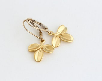 Golden Leaf Earrings, Matte Gold, Leverback Earrings, Trio of Leaves, Gift For Woman, Mothers Day Gift