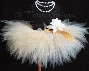 Beige Baby Tutu, Beige Tutu, Baby Tutu, Sewn 8'' Infant Pixie Tutu, size Newborn up to 12 months, Photo Prop Tutu