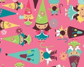 Camelot fabrics, FAIRYVILLE by Heather Rosas, GNOMES on pink, yard