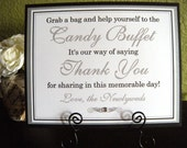 8x10 Flat Wedding Candy Buffet Sign in Black and White and Metallic Silver - READY TO SHIP - Matching Custom Printed Candy Tags Available