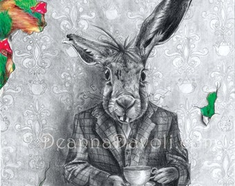 March Hare Art Print Alice in Wonderland Art Gothic Art Fairy Tale Art Victorian Art 5x7
