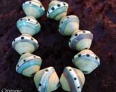 10 Large Organic Paths Bicones , Seaglass , Lampwork Beads , organic satin finish , glass beads by Beadfairy Lampwork, SRA