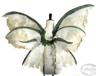 Spring - One of a Kind - Large Fairy Wings in Green, Tan and White