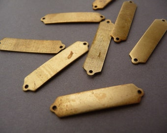 12 Brass Logo Tags - Label or Frame - ID Bracelet