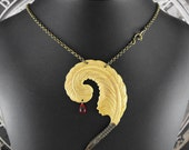 Bloody Writer Golden Statement Necklace - The Striving Writer's Quill by COGnitive Creations