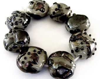 Lampwork Glass Beads gray luster shards sra s/8