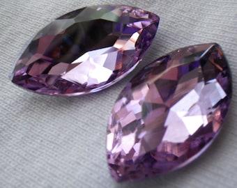 Lavender Purple 32x17mm Navette Crystal Gems Foiled 2 Pcs