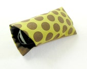 Sunglasses case, soft eyeglass case, soft sunglass case, brown dotted case, eyglasses case, fabric sunglass case, green and brown case