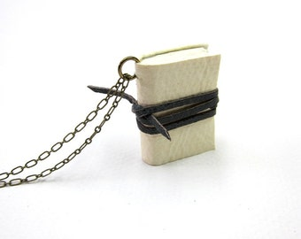White mini diary on a chain, book pendant,  necklace, paper goods, hand made, leather journal,