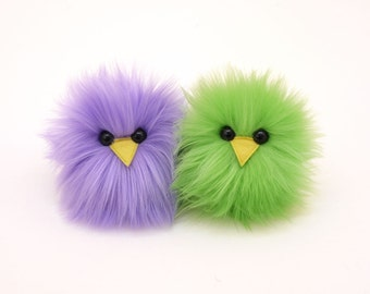 Pair of Chicks Lavender and Lime Green Easter Micro Peeps Plush Stuffed Toy Animals Kawaii Plushie Snuggly Cuddly Fuzzy Toy Small 3x2 Inches