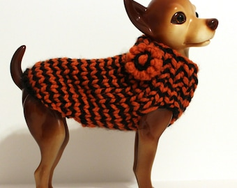 Halloween Dog Sweater Orange and Black Striped
